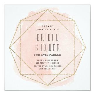 Watercolor faux glitter bridal shower invitation