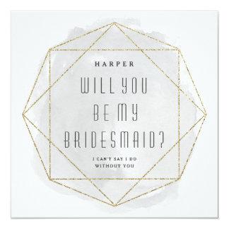 Watercolor faux glitter bridesmaid invitation