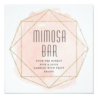 Watercolor faux glitter Mimosa bar sign Card