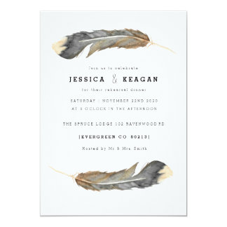 Watercolor Feather Duo Rehearsal Dinner Card