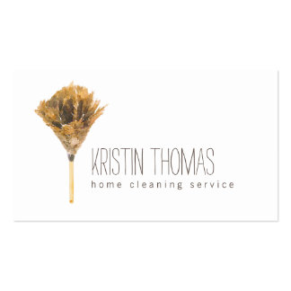 Watercolor Feather Duster Home Cleaning Service Business Card