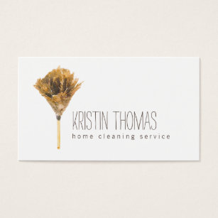 Cleaning business cards templates zazzle watercolor feather duster home cleaning service business card wajeb