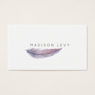 Watercolor Feather Simple Chic Business Cards