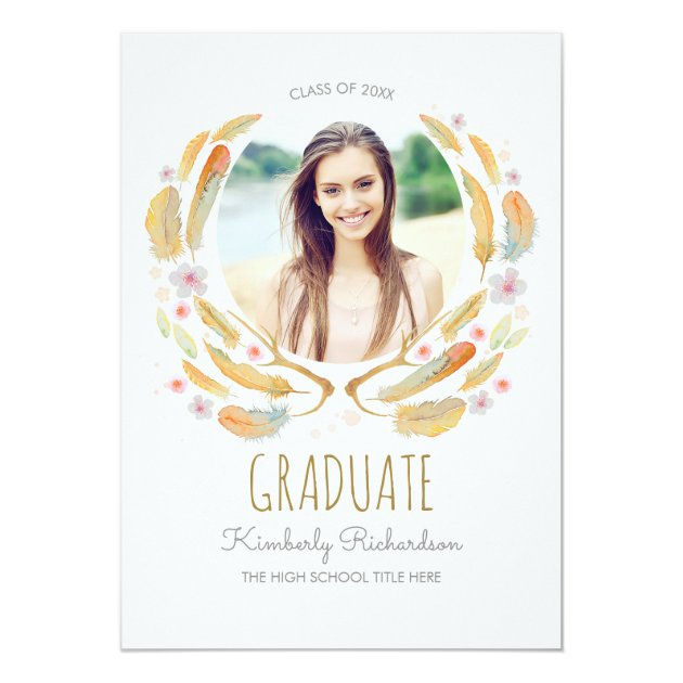 Watercolor Feathers Antler Floral Boho Graduation Card