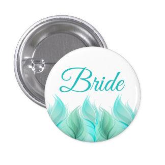 Watercolor Feathers Bride Pinback Button