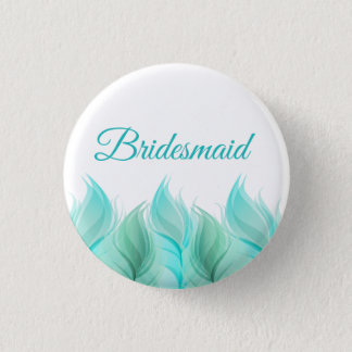 Watercolor Feathers Bridesmaid Button