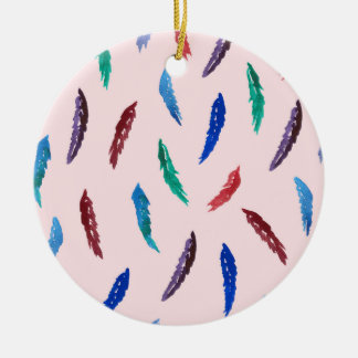 Watercolor Feathers Circle Ornament