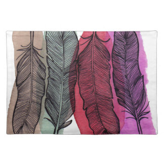 Watercolor Feathers Cloth Placemat