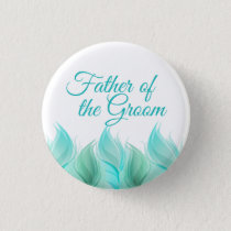 Watercolor Feathers Father of the Groom Button