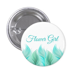 Watercolor Feathers Flower Girl Pinback Button