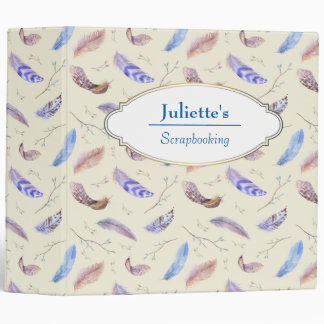 Watercolor Feathers Leaves and Branches Pattern 3 Ring Binder