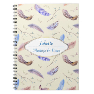 Watercolor Feathers Leaves and Branches Pattern Notebook
