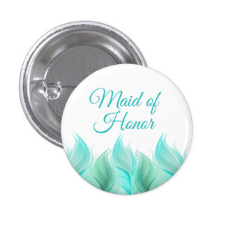 Watercolor Feathers Maid of Honor Button