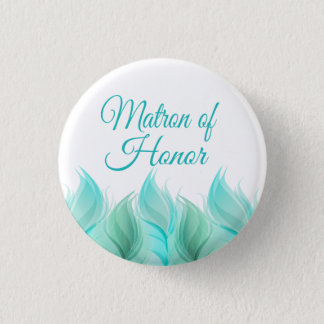 Watercolor Feathers Matron of Honor Button
