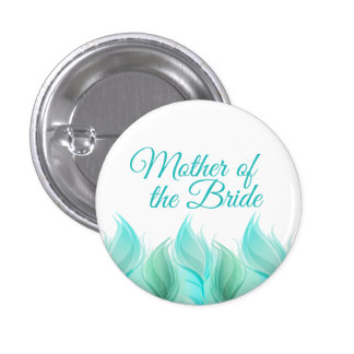 Watercolor Feathers Mother of the Bride Button