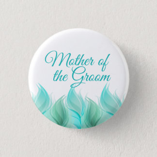Watercolor Feathers Mother of the Groom Button