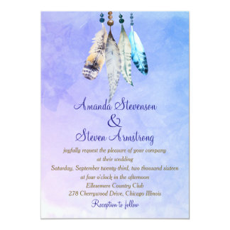 Watercolor Feathers on Bluish Purple Wedding Card
