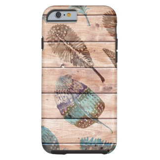 Watercolor Feathers on Wood teal brown Tough iPhone 6 Case