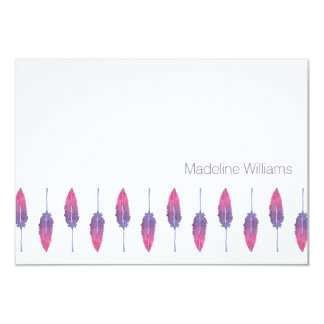 Watercolor Feathers Personalized Notecards