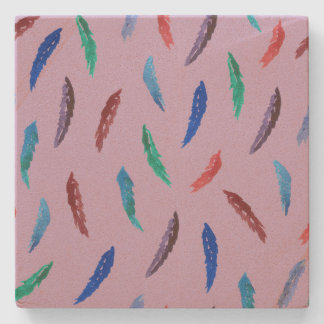 Watercolor Feathers Sandstone Coaster