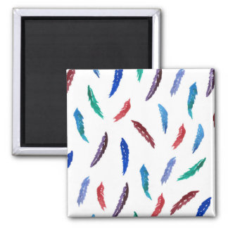 Watercolor Feathers Square Magnet