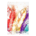 Watercolor Feathers Stationery