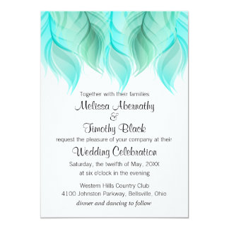 Watercolor Feathers Wedding Card