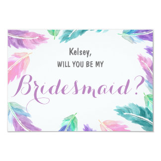 Watercolor feathers Will you be my Bridesmaid Card