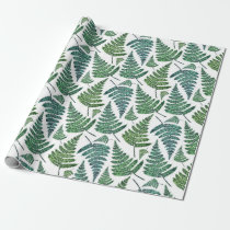 Watercolor fern pattern. Modern summer botanical Wrapping Paper