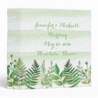 Watercolor Ferns Leaves Greenery Wedding Planner 3 Ring Binder