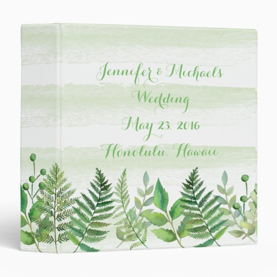 Watercolor Ferns Leaves Greenery Wedding Planner 3 Ring Binder