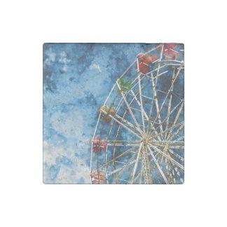 Watercolor Ferris Wheel in Santa Cruz California Stone Magnet