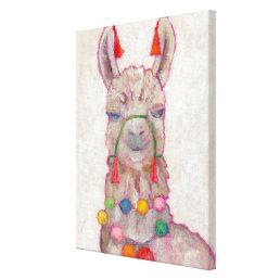Watercolor Festival Llama Canvas Print