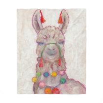 Watercolor Festival Llama Fleece Blanket