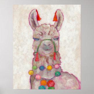 Watercolor Festival Llama Poster