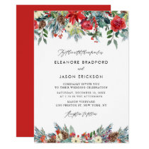 Watercolor Festive Floral Garland Winter Wedding Invitation
