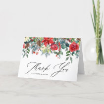 Watercolor Festive Floral Garland Winter Wedding Thank You Card