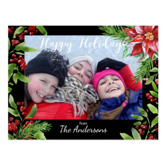 Watercolor Festive Photo and Holiday Flowers Postcard