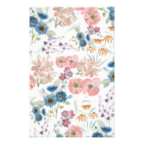 Watercolor field floral hand paint stationery