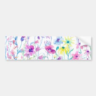 Watercolor Field of Pastel, Wildflower Meadow Bumper Sticker