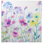 Watercolor Field of Pastel, Wildflower Meadow Napkin<br><div class='desc'>Watercolor Field of Pastel,  Wildflower Meadow by the watercolor artist Cheng Jing. Watercolor flowers,  pink,  blue and purple flowers,  wildflower meadow.</div>