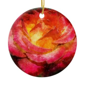 Watercolor Fiery Merry Red Rose Christmas Ornament