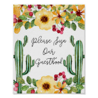 Watercolor Fiesta Please Sign Our Guestbook Sign