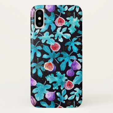 Watercolor Figs and Leaves Pattern on Black iPhone XS Case