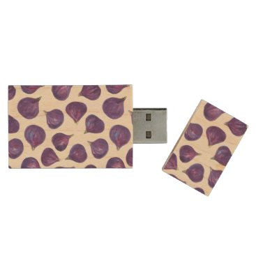 Beach Themed Watercolor figs pattern wood USB flash drive