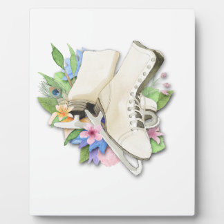 Watercolor Figure Skates Custom Giftware Plaque