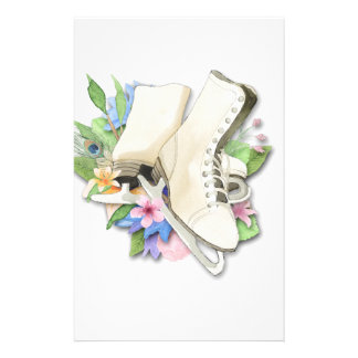 Watercolor Figure Skates Custom Giftware Stationery