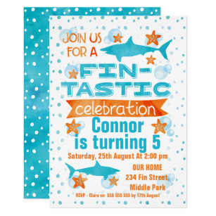 Shark birthday invitations zazzle watercolor fin tastic shark birthday invitation filmwisefo