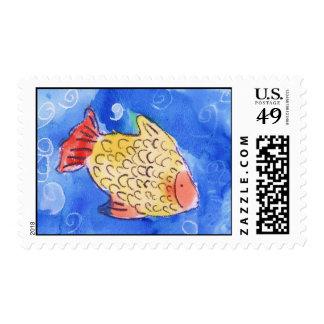 Watercolor Fish Art Stamp