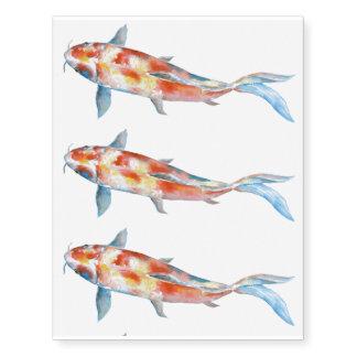 Watercolor fish koi temporary tattoos